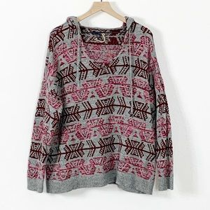 American Eagle Aztec Knit Hooded Pullover Sweater